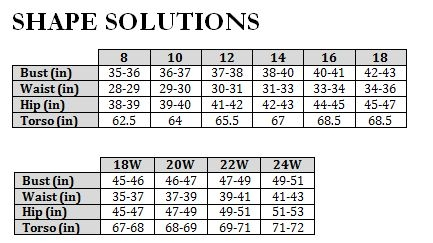 Shape Solutions Size Chart