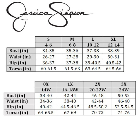 Jessica Simpson Size Chart